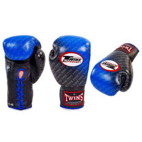 Профессиональные боксерские перчатки Twins на шнурках (FBGLL-TW1-BU, черно-синие)
